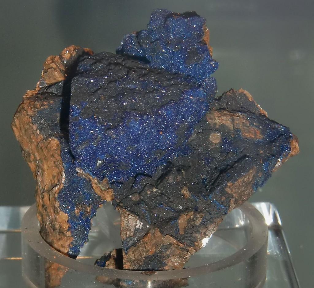Azurit auf Tetraedrit (Altenmittlau, Spessart), Privatsammlung