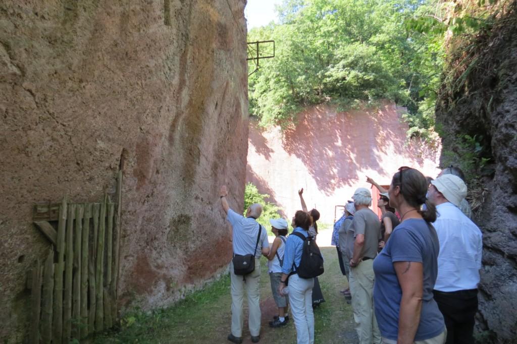 in der Eingangsschlucht zum Steinbruch Erläuterungen von Frau Bär… (Foto: Udo Becker)
